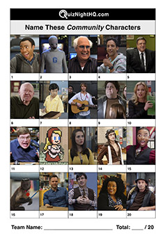 community tv show name characters trivia quiz