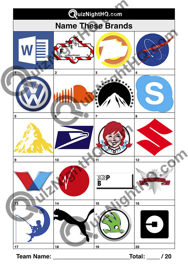 company logos name the organisation trivia table round pictures