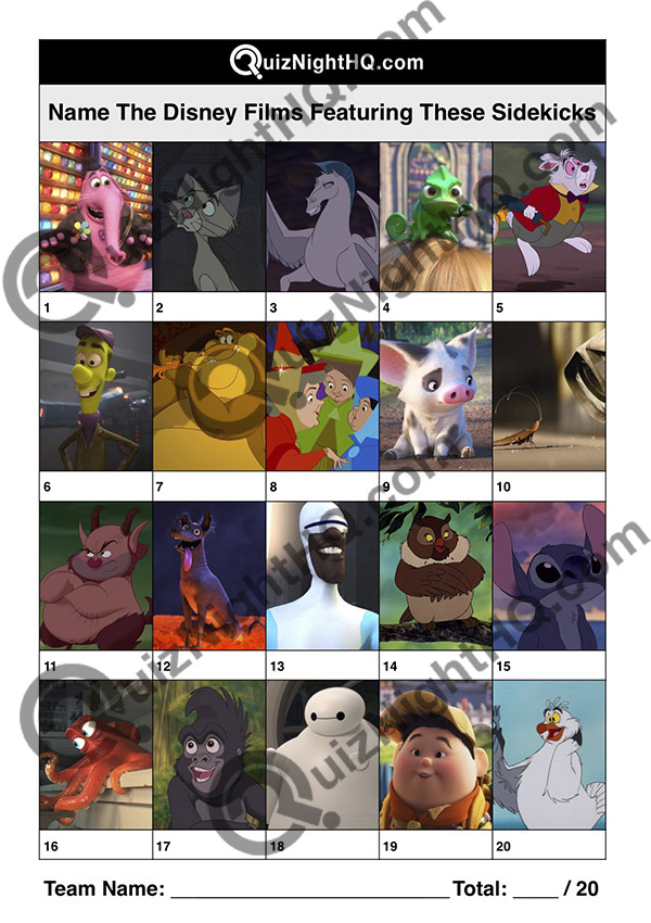 disney sidekick characters movie trivia picture round