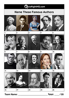famous faces famous authors trivia picture round