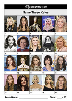 famous faces people named kate trivia picture round
