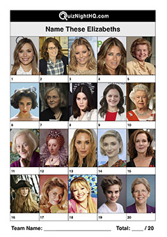 famous faces people named elizabeth trivia picture round
