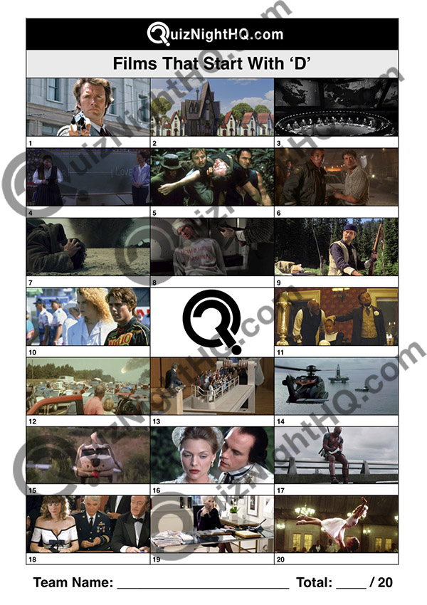 films movies starting with d trivia picture quiz