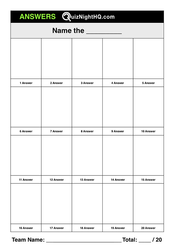 Portrait Trivia Table Answer Template