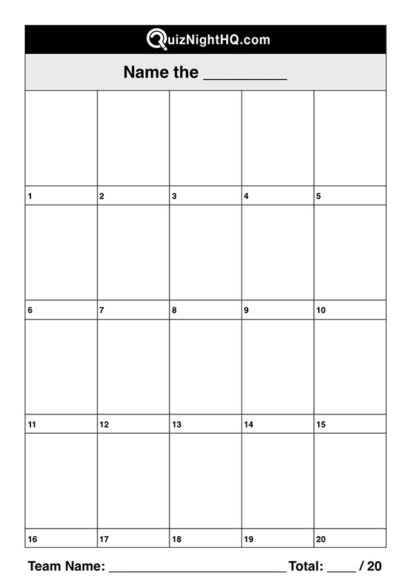Portrait Trivia Table Question Template