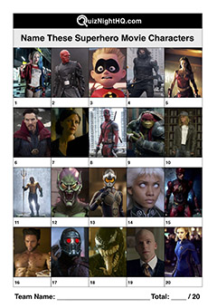 Superhero film characters trivia question