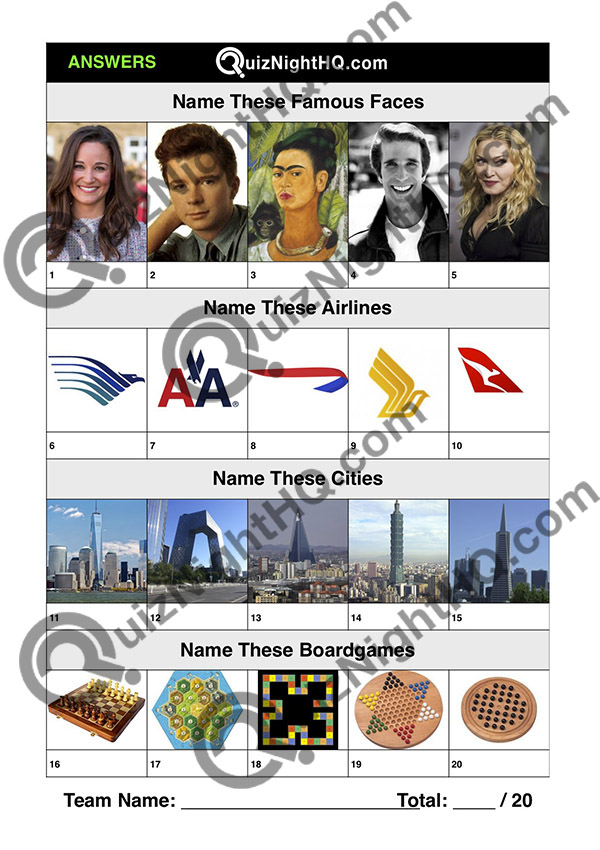 Trivia Picture Round Mix Famous Faces Airlines Buildings Board Games